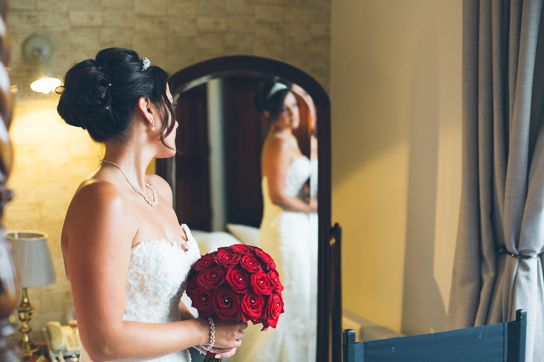 Glance in the mirror for bride to be