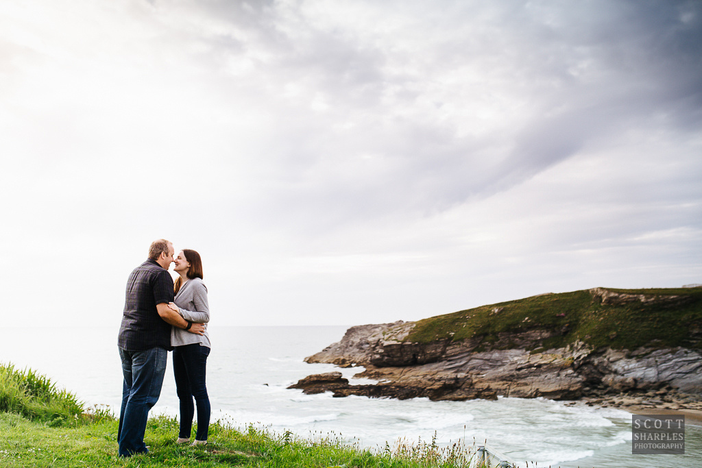 getting used to being in front of the camera - Jenny and Jonathan, enjoying a moment before their wedding day. Shot by Cornwall wedding photographer, Scott Sharples