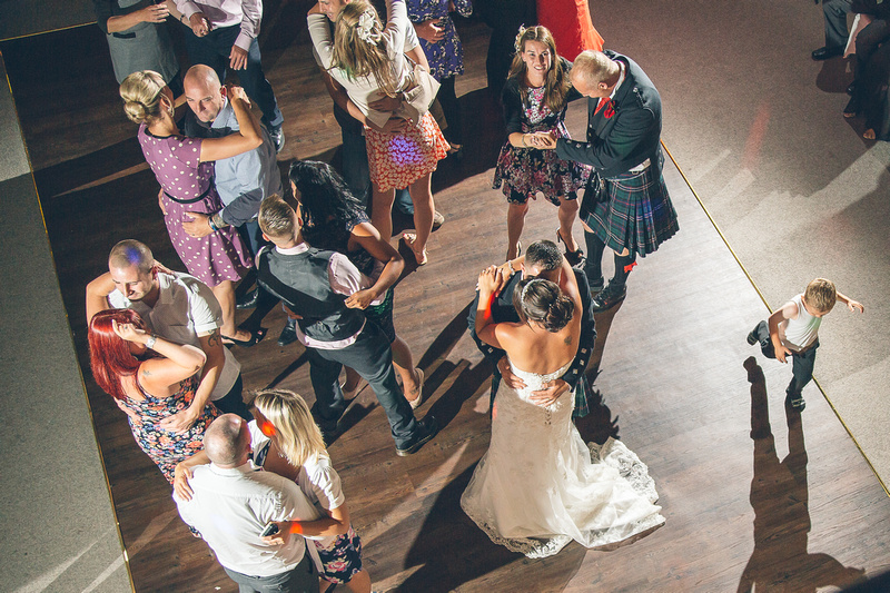 a photo of the first dance, shot from above on the balcony of the Great Hall at the Alverton