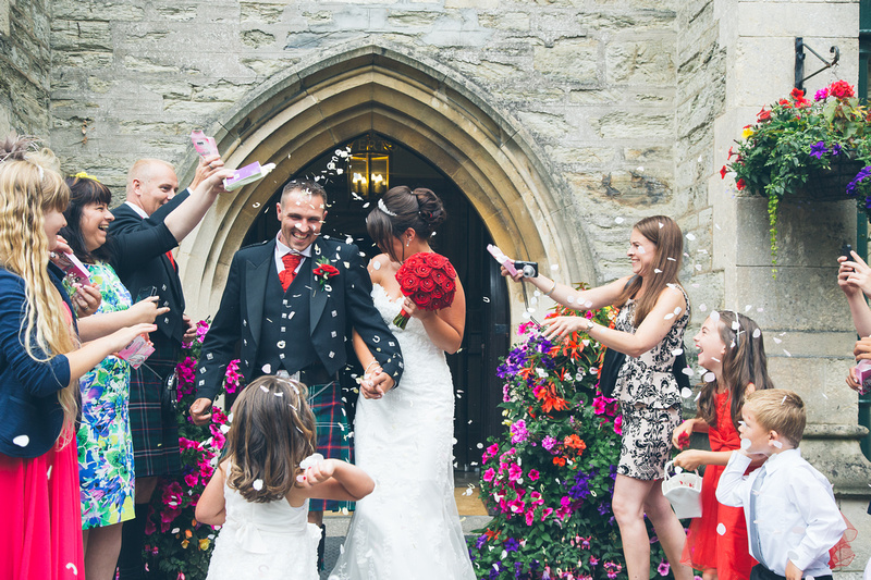 Confetti shower in the archway of the Alverton main entrance