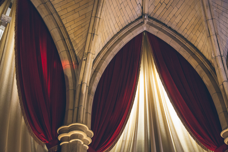 Stunning drapes and lighting are just part of what makes the Alverton Manor Great Hall a special wedding venue