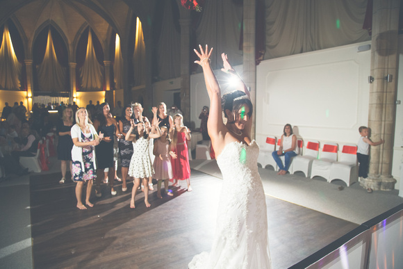 The bridal bouquet being thrown