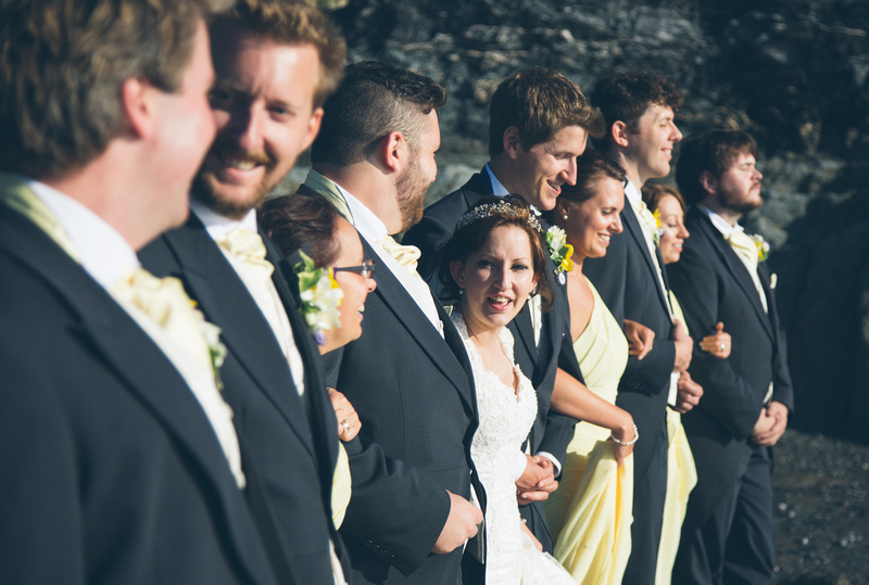 Bridal party on the beach at Polhawn Fort