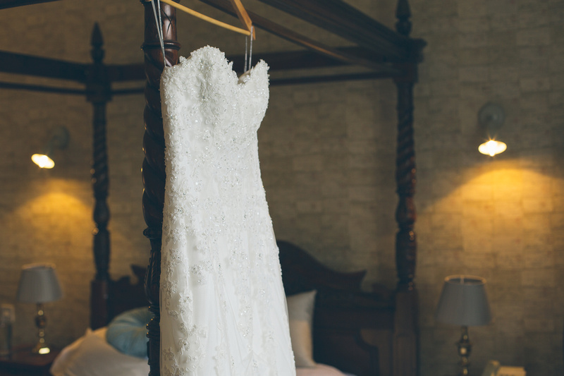 Nataliee's dress hanging in the Alverton bridal suite