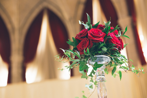 Red roses for the table preparation at the Alverton Manor wedding ceremony