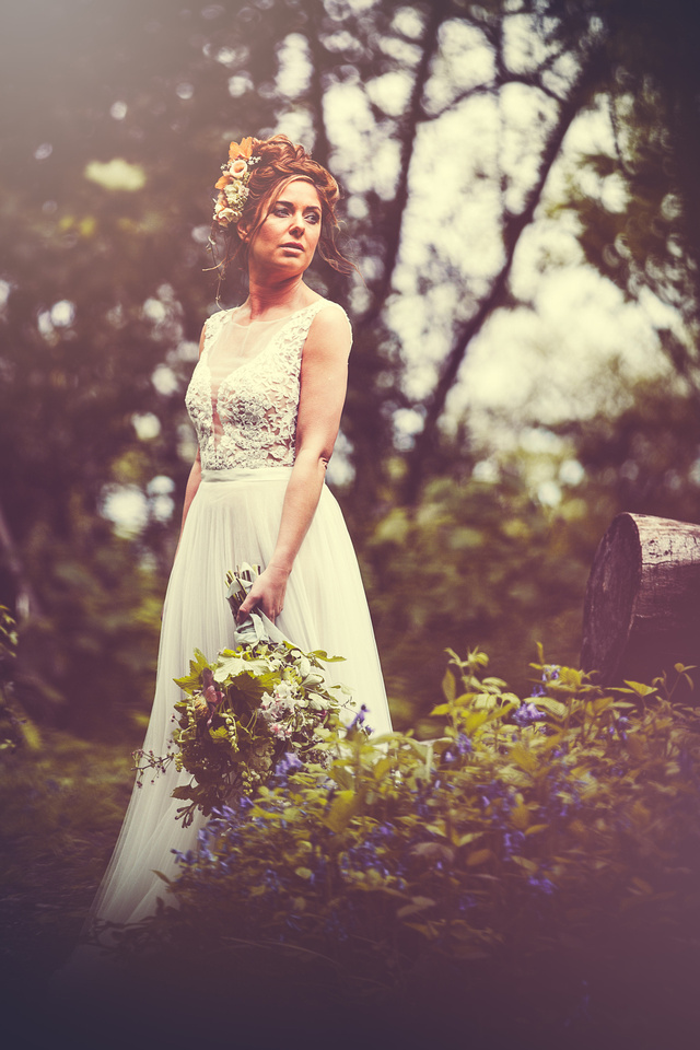 Light and Dark themed styled bridal images shot in collaboration with a range of Cornish wedding suppliers