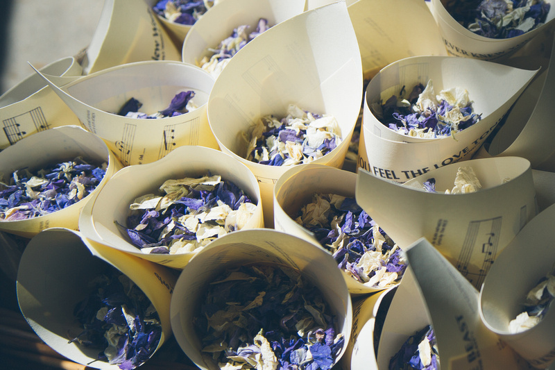 Novel use for sheet music - to make wedding confetti holders at Polhawn Fort