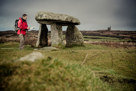 Map reading skills at Lanyon Quoit, West Penwith