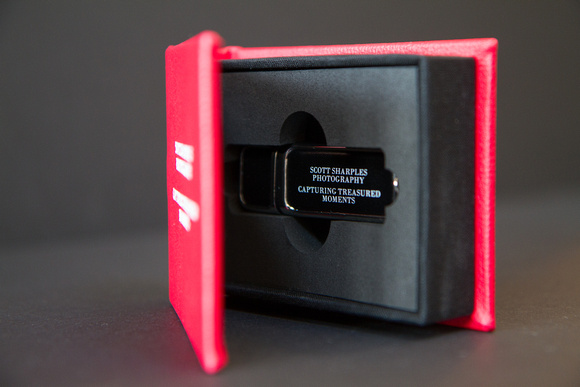An image to give an idea of how your wedding images will arrive with you on a USB flash stick which is contained in a personalised presentation case.