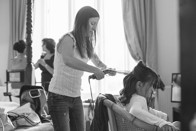 Bridesmaids hair being styled