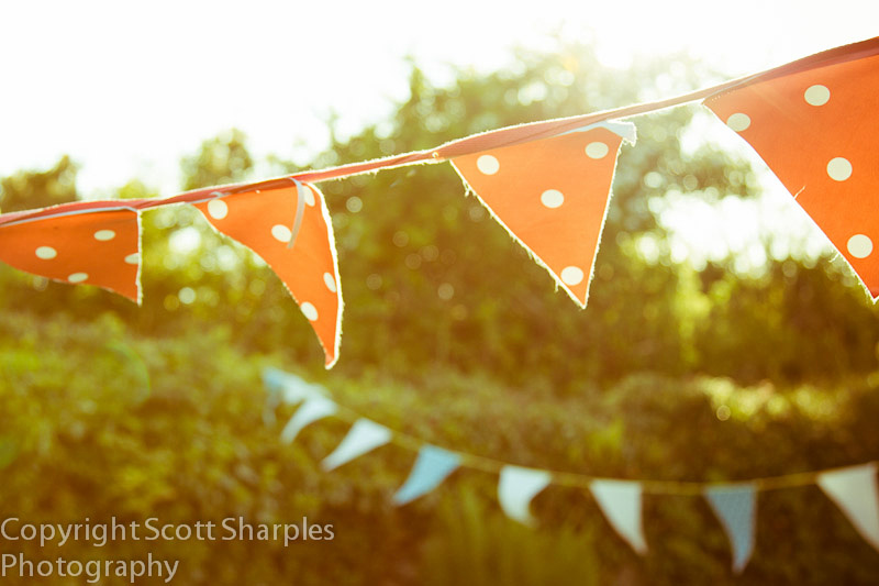 celebration bunting backlit with hazy light and sunflare