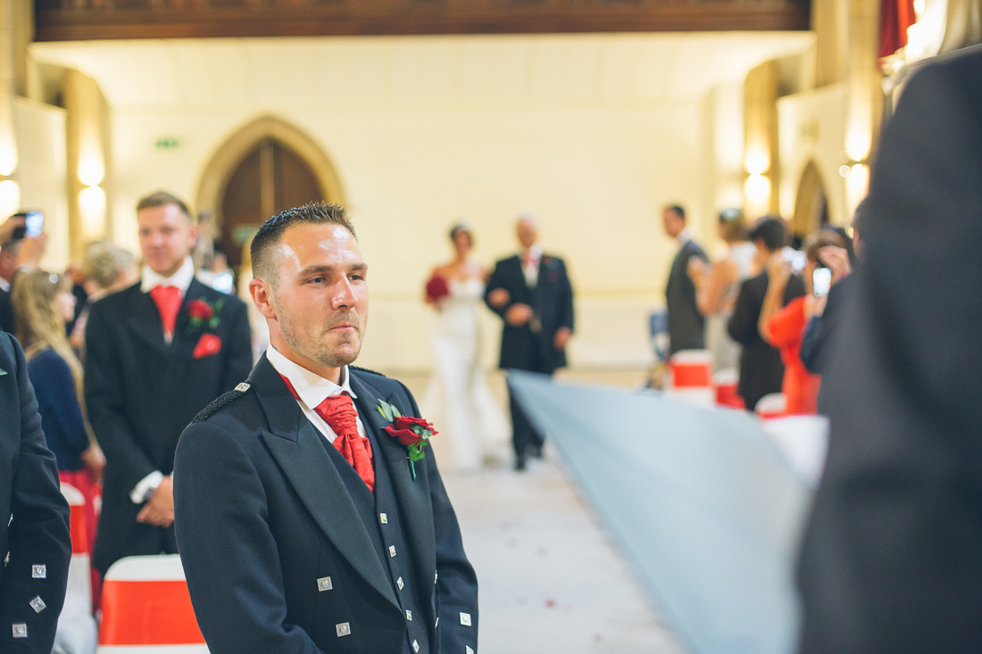 Rob's emotions running high as he waits for wife to be Natalie to walk down the aisle with her father at the Alverton Manor